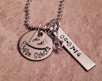 Hand stamped personalized mothers necklace with child's name birthstone and birthdate perfect for Mother's Day or christmas!