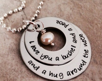 SALE I love you a bushel and a peck and a hug around the neck hand stamped necklace jewelry pearl mom mother daughter Christmas mothers