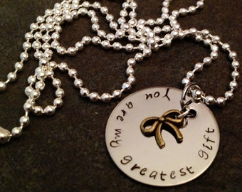 You Are My Greatest Gift Hand stamped necklace