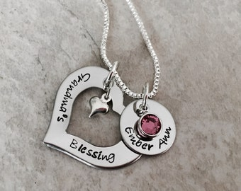 Grandma's Blessings hand Stamped personalzied necklace with Swarovski crystal birthstones