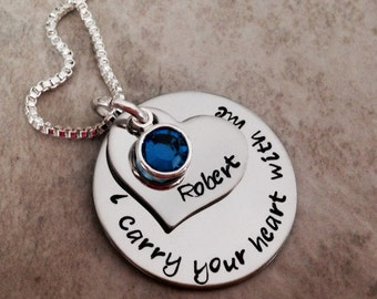 Personalized necklace I carry your heart with me birthstone necklace remembrance mom grandma dad grandpa if Heaven wasn't so far away