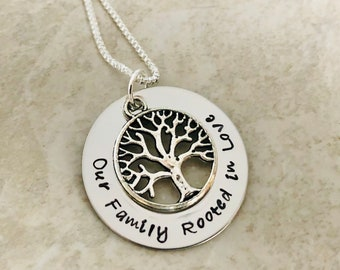 Personalized necklace custom mother's jewelry family jewelry rooted in love circle of life necklace tree of life necklace hand stamped sale