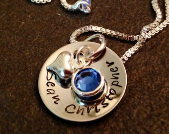 Hand stamped personalized necklace with name or date and Swarovski crystal birthstone new mom grandma