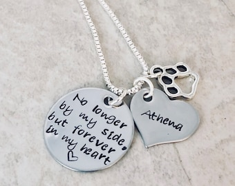 Personalized necklace no longer by my side but forever in my heart pet loss parent loss of child loss of loved one remembrance memorial