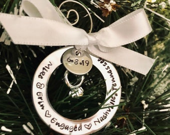Personalized engagement ornament engagement date ornament couples first Christmas engaged gift monogrammed engagement ornament with names