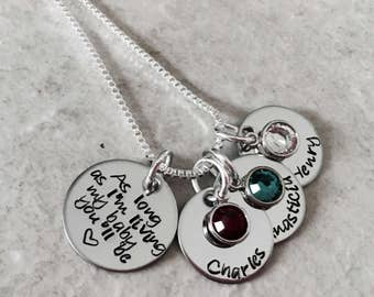 As long as I'm living my baby you'll be personalized mothers necklace with children's names new mom pregnancy loss new mom Christmas Day
