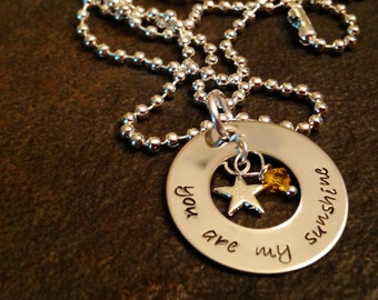 You are my sunshine hand stamped personalized necklace
