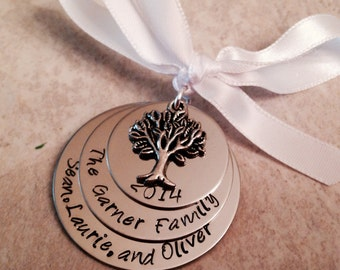 Personalized christmas ornament family tree hand stamped