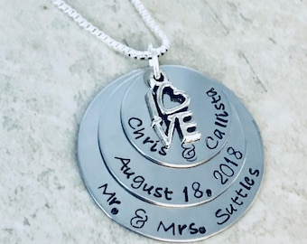 Personalized necklace with couples names and wedding date wedding gift bridal shower gift bride to be mr and mrs wedding anniversary gift