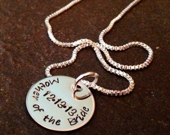 Hand stamped personalized necklace mother of the bride mother of the groom flower girl bridesmaid mother in law gift