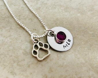 Personalized necklace with paw print charm monogrammed necklace pet necklace pet jewelry pet remembrance gift loss of pet dog jewelry cat