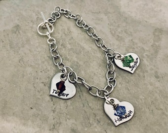 Personalized Charm Bracelet with names and Swarovski Crystal Birthstones  Options available