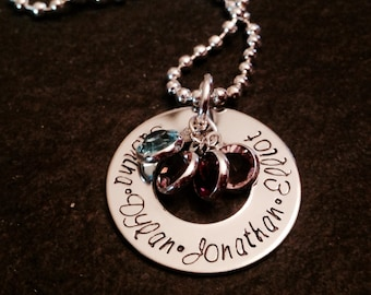 Personalized mother's necklace with channel set Swarovski crystals hand stamped