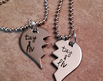 Set of 2 broken heart necklaces best friends hand stamped jewelry