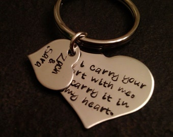 I carry your heart with me I carry it in my heart hand stamped personalized keychain mom dad wedding