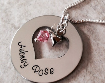 Hand stamped personalized mom necklace grandma necklace proud grandma nana nanny children names Swarovski crystal birthstone heart charm