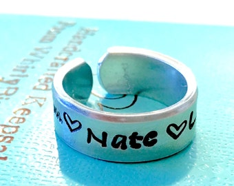 SALE Personalized ring for mom mother's ring mothers jewelry Personalized ring with children's names monogrammed ring engraved ring handmade
