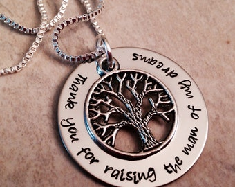 Thank you for raising the man of my dreams mother in law's necklace  personalization hand stamped family tree