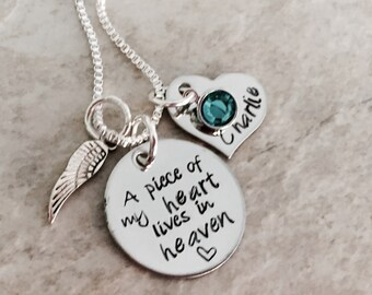 A piece of my heart lives in heaven personalized necklace remembrance necklace pregnancy loss in memory angel wing custom jewelry birthstone