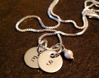 Personalized monogrammed necklace hand stamped with freshwater pearl options available