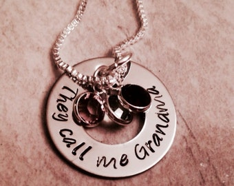 They call me grandma personalized necklace hand stamped mom grandma nana Nannie grandmother