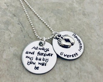 Always and forever my baby you will be personalized with name and baby feet charm