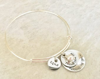 Thank you for helping me grow personalized bangle bracelet personalized teacher gift teacher appreciation monogrammed teacher jewelry