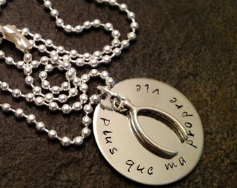 Plus que ma propre vie (More than my own life) hand stamped necklace with wishbone
