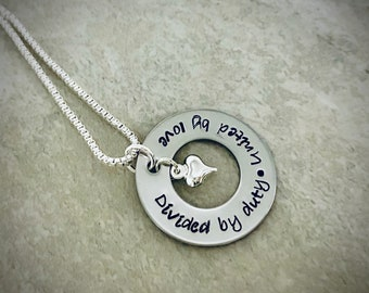 Divided by duty united by love military spouse necklace