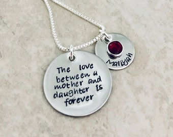 The love between a mother and daughter is forever personalized gift for mom mothers day gift childs name kids name birthstone jewelry sale