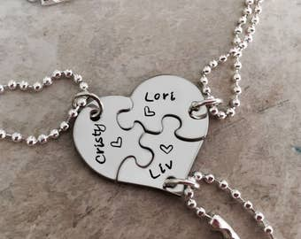 Set of three puzzle piece necklaces sister necklace set best friend necklace set big sister little sister middle sister set personalized