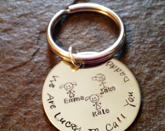 Hand stamped dad mom grandpa grandma mommy family keychain with stick figure kids personalized