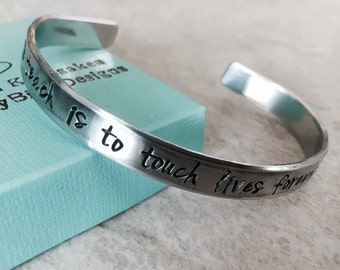 Sale personalized cuff bracelet to teach is to touch lives forever teacher gift personalized teach gift for teacher appreciation custom
