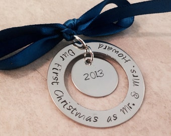 SALE!!! Our first christmas as mr and mrs christmas ornament first christmas baby's first christmas wedding newlyweds