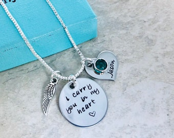 Personalized necklace i carry you in my heart remembrance necklace loss of parent loss of pet parent loss monogrammed jewelry angel wing