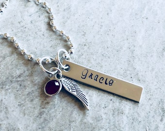 Personalized hand stamped bar with angel wing charm and freshwater pearl. Remembrance faith personalized name initial monogrammed