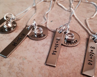 Set of personalized bridesmaid necklaces friend necklaces hand stamped personalized necklace jewelry
