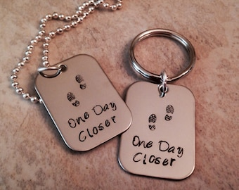 Hand stamped jewelry SET One Day Closer military deployment navy army airforce marine corps coast guard wife mom girlfriend