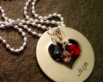 Beautiful personalized open heart necklace with birthstones perfect for mom or grandma