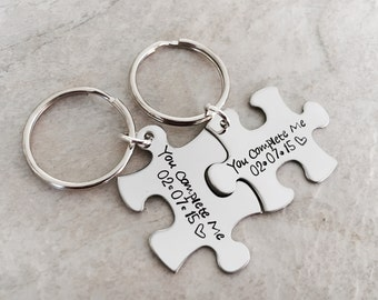 You complete me puzzle piece key chains best friends  personalized