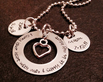 I carry your heart with me I carry it in my heart hand stamped necklace jewelry
