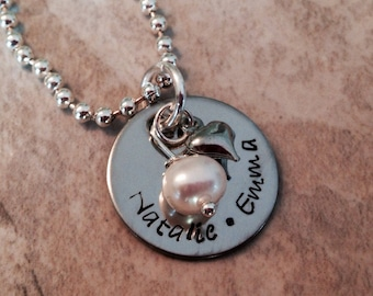 Personalized hand stamped necklace with heart
