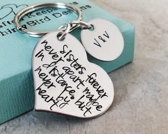 Sisters forever never apart maybe in distance but never at heart personalized keychain sister keychain sister jewelry distance I miss you