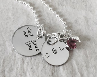 God Gave Me You hammered Hand Stamped Personalized necklace with heart charm
