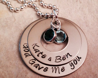 Hand stamped personalized god gave me you necklace with names husband and wife anniversary kids daughter son