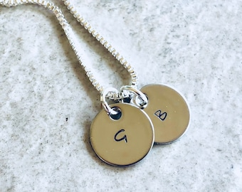 Personalized monogram necklace with initials Mother's Day gift for mom Christmas gift engraved initial necklace with kids initials jewelry