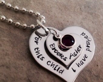 For this Child I have prayed neckace personalized with name and birthstone crystal