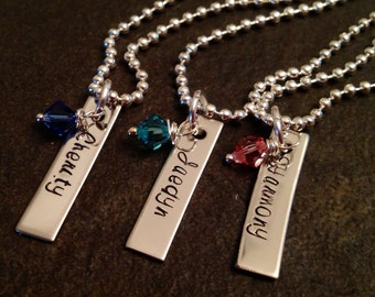 SALE!!  Personalized necklace with name and Swarovski crystal birthstone wedding bridesmaid daughter mom grandma