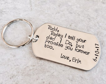 Personalized keychain today I tell your dad I do but promise you forever too wedding gift for child stepchild step daughter step son bridal