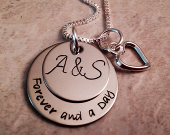 Personalized hand stamped necklace Forever and a day monogrammed necklace with heart charm